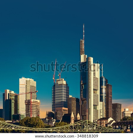 Frankfurt am Main city with retro vintage Instagram style effect - stock photo