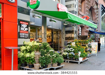 FRANKFURT AM MAIN, GERMANY - AUGUST 7, 2015: A flower shop in Frankfurt am Main. - stock photo