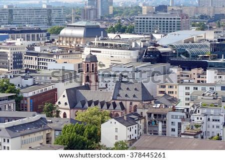 Schillerpassage Frankfurt city church bird view stock photo 302659553