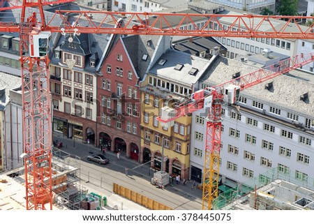 FRANKFURT AM MAIN, GERMANY - AUGUST 7, 2015: Aerial view of Braubachstrasse street with a huge construction site. - stock photo
