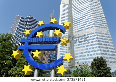 FRANKFURT AM MAIN, GERMANY - AUGUST 7, 2015: Euro Sign. European Central Bank (ECB) is the central bank for the euro and administers the monetary policy of the Eurozone. - stock photo