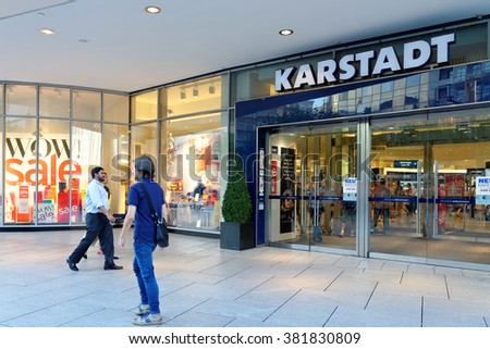FRANKFURT AM MAIN, GERMANY - AUGUST 7, 2015: Karstadt department store on Zeil, one of the most famous and busiest shopping streets in Germany. - stock photo
