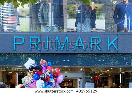 FRANKFURT AM MAIN, GERMANY - AUGUST 7, 2015: Primark store on Zeil. Primark is an Irish clothing retailer, operating in Austria, Belgium, Germany, Ireland, Portugal, Spain, the Netherlands and the UK. - stock photo