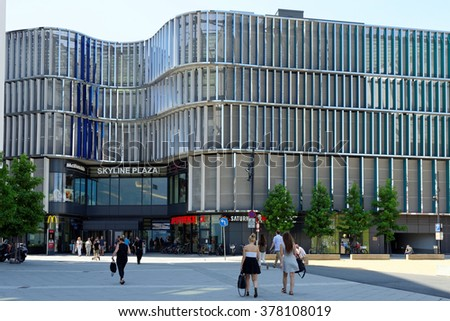 FRANKFURT AM MAIN, GERMANY - AUGUST 7, 2015: Skyline Plaza shopping and wellness center with roof garden, a fitness centre, numerous restaurants and shops and a multi-storey car park. - stock photo