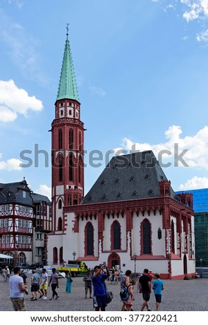 FRANKFURT AM MAIN, GERMANY - AUGUST 7, 2015: The Old St Nicholas Church, a Lutheran medieval church on Romerberg square.