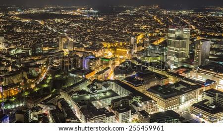frankfurt am main germany cityscape at night - stock photo