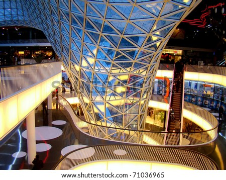FRANKFURT AM MAIN, GERMANY - FEBRUARY 26: Opened on 26 February 2009, MyZeil is located right in the heart of Frankfurt on the Zeil shopping boulevard. It's been designed by Massimiliano Fuksas. - stock photo