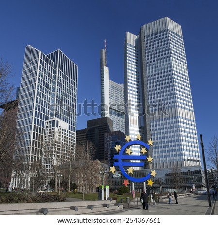 FRANKFURT AM MAIN, GERMANY - FEBRUARY 5, 2015: photo of European Central Bank, one of the world's most important central banks. it is situated in Frankfurt am Main city, Germany.   - stock photo