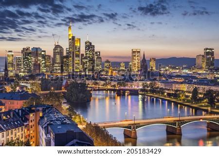 Frankfurt am Main, Germany Financial District skyline. - stock photo