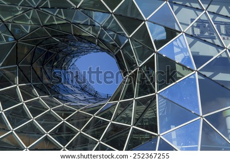 FRANKFURT AM MAIN, GERMANY - JANUARY 5, 2015: MyZeil - a shopping mall in the center of Frankfurt am Main city, Germany. It was designed by Roman architect Massimiliano Fuksas.   - stock photo