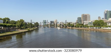 FRANKFURT AM MAIN, GERMANY - JULY 2, 2015: View of Frankfurt am Main, Germany. Frankfurt is the fifth-largest city in Germany.