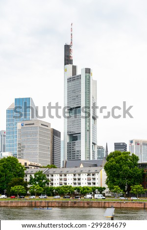 FRANKFURT AM MAIN, GERMANY - JUNE 11, 2015: Architecture of Frankfurt am Main, Germany. Frankfurt is the largest city in the German state of Hesse