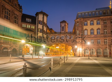 Frankfurt am Main, Germany. March 08, 2014 City view of Frankfurt Old Town at dusk. High Dynamic Range Style.