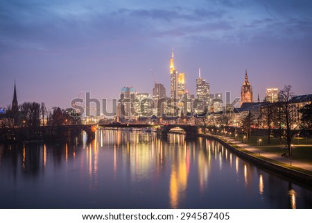 Frankfurt am Main, Germany. March 07, 2014 High Dynamic Range Image of Frankfurt skyline during sunset blue hour