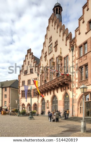 FRANKFURT AM MAIN, GERMANY - May 07.2014: City landscape. Ancient building of City Hall  is in historical part of city