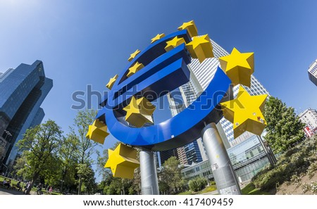 FRANKFURT AM MAIN, GERMANY - MAY 8, 2016: Euro sign in Frankfurt am Main, Germany. Frankfurt is the largest city in the German state of Hesse - stock photo