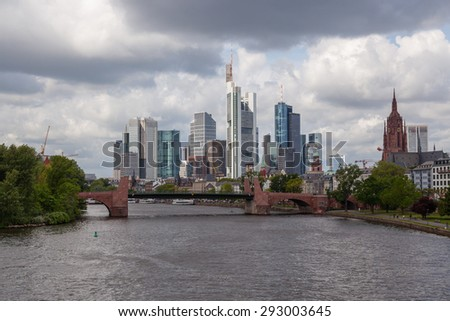 Frankfurt am Main,Germany. May 9, 2015: Frankfurt is the largest financial centre in continental Europe.
