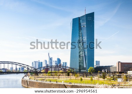 FRANKFURT AM MAIN, GERMANY, MAY 19, 2015: New headquarters of the European Central Bank or ECB in Frankfurt  - stock photo
