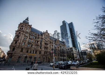 Frankfurt am Main, Germany- May 16, 2016: Skyscrapers of Frankfurt am Main. Frankfurt am Main is a dynamic and international financial and trade city with the most imposing skyline in Germany.