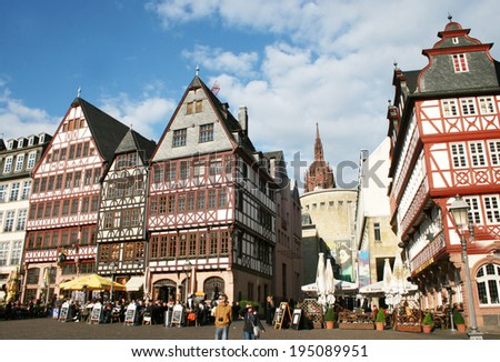 FRANKFURT AM MAIN, GERMANY, MAY The 3rd 2014: The Romer Square, one of the oldest and most historic sections of Frankfurt am Main, featuring Roman bath ruins and gabled, gothic row houses.