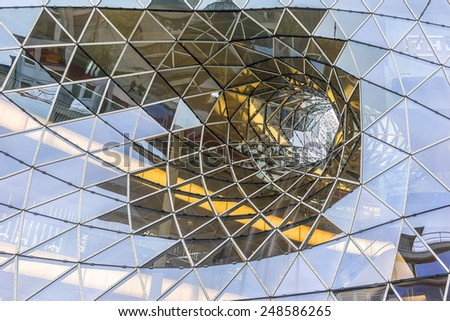 FRANKFURT AM MAIN, GERMANY - NOVEMBER 14, 2014: View of MyZeil modern facade. MyZeil - shopping mall in center of Frankfurt. It was designed by Roman architect Massimiliano Fuksas, opened on 2009.