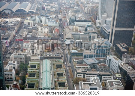 FRANKFURT AM MAIN, GERMANY - OCTOBER 25, 2012: Frankfurt am Main Business district from above.