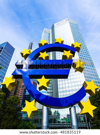 FRANKFURT AM MAIN, Germany - September 03, 2016:  Euro Sign in front of the European Central Bank in Frankfurt, Germany