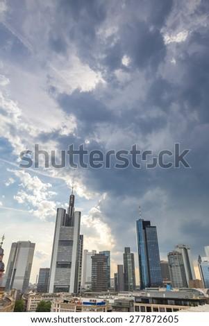 frankfurt am main germany skyline cloudscape - stock photo