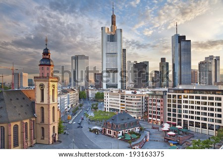 Frankfurt am Main. Image of Frankfurt am Main skyline during dramatic sunset. - stock photo