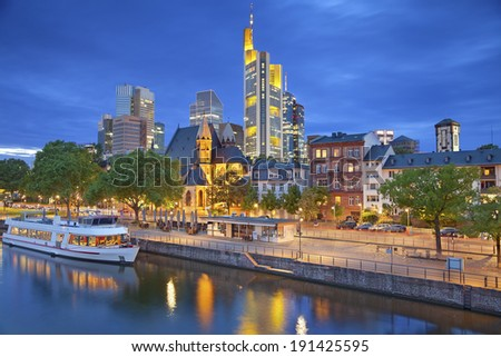 Frankfurt am Main. Image of Frankfurt am Main skyline during twilight blue hour. - stock photo