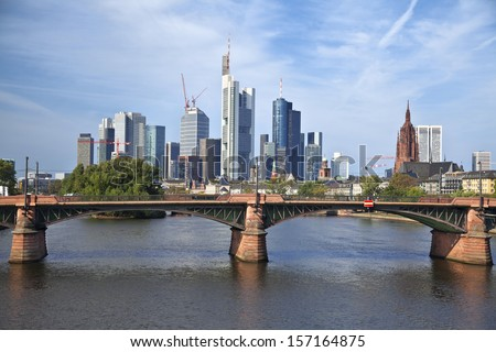Frankfurt am Main. Image of Frankfurt skyline during sunny day. - stock photo