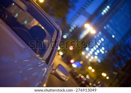 frankfurt am main night blur car background - stock photo