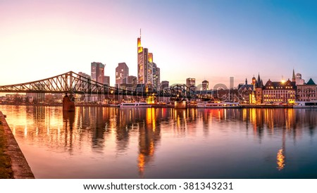 Frankfurt am Main, Skyline, Eiserner Steg - stock photo