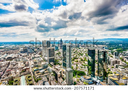 Frankfurt am Main skyline panorama with dramatic cloudscape, Hessen, Germany - stock photo