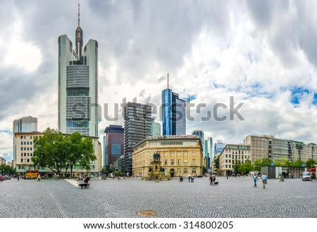 Frankfurt am Main skyline panorama with dramatic cloudscape, Hessen, Germany - stock photo