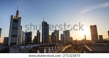 frankfurt am main skyline sundown - stock photo