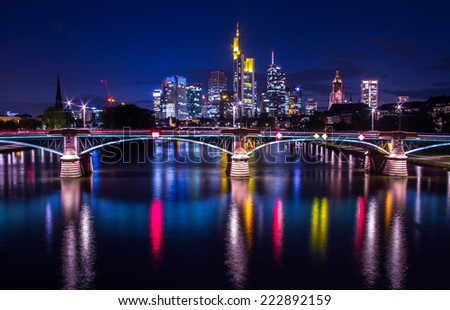 Frankfurt am Main skyline with office buildings and skyscrapers in Germany, night shot - stock photo