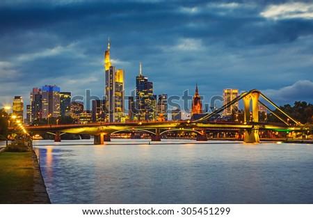 Frankfurt am Mine at night, Germany - stock photo