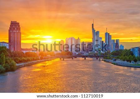 Frankfurt am Mine at sunset, Germany - stock photo