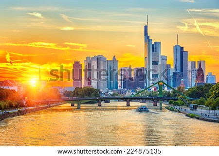 Frankfurt am Mine at sunset, Germany - stock photo