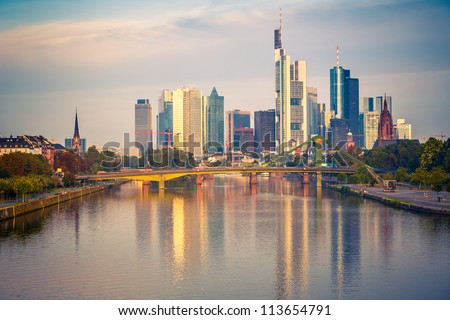 Frankfurt at morning, Germany - stock photo