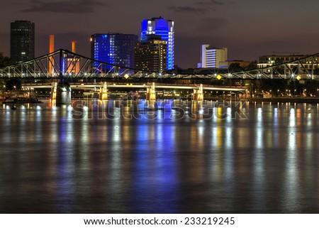 Frankfurt at Night, Germany financial district skyline. - stock photo