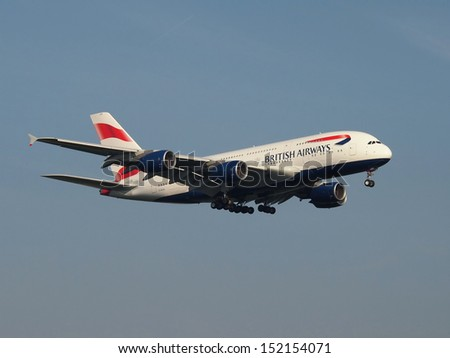 FRANKFURT - AUGUST 30: The first and brand new British Airways Airbus A380 operates a training flight, on August 30 2013 in Frankfurt, Germany. - stock photo