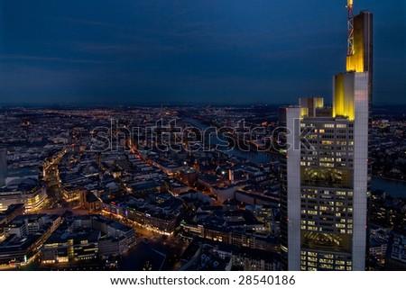 Frankfurt by night - stock photo