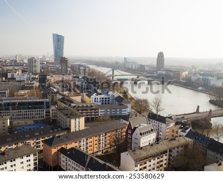 Frankfurt city and river Main, Germany - stock photo