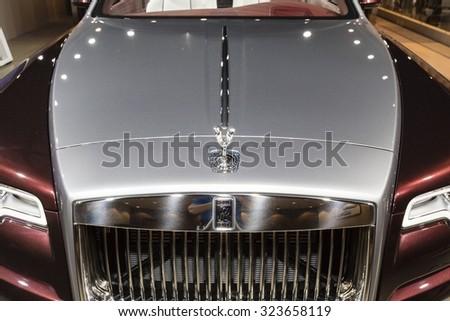 Frankfurt, Deutschland - September 15, 2015: 2016 Rolls Royce Dawn presented on the 66th International Motor Show in the Messe Frankfurt - stock photo