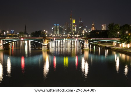 frankfurt downtown germany at night - stock photo