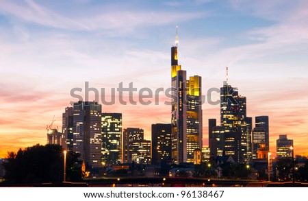 Frankfurt downtown on sunset - stock photo
