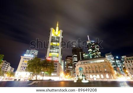 Frankfurt financial city downtown at night - stock photo