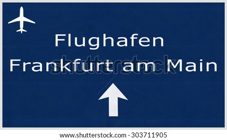 Frankfurt Germany Airport Highway Sign 2D Illustration - stock photo